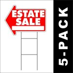 5-PACK-Estate-Sale-Yard-Sign-Arrow-Shaped-With-Metal-Frame-0