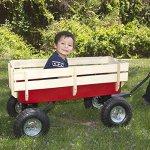 Best-Choice-Products-Wood-Wagon-ALL-Terrain-Pulling-Red-w-Wood-Railing-Children-Kid-Garden-Cart-0-0