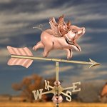 Good-Directions-8840PR-Flying-Pig-Cottage-Weathervane-Polished-Copper-with-Roof-Mount-0