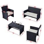 Goplus-4-PC-Rattan-Patio-Furniture-Set-Black-Wicker-Garden-Lawn-Sofa-Cushioned-Seat-0-1