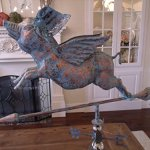 LARGE-Handcrafted-3D-3-Dimensional-FLYING-PIG-Weathervane-Copper-Patina-Finish-0