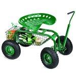 Plow-Hearth-Rolling-Scoot-N-Do-Garden-Seat-Powder-Coated-Tubular-Steel-Green-54L-x-17L-x-27H-0