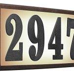 Qualarc-SRST-AB60-BRZ-Serrano-Low-Voltage-Rust-Free-Galvanized-Steel-Rectangular-Lighted-Address-Plaque-with-4-Polymer-Numbers-Bronze-0