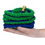 The-Hose-Cos-EXPANDABLE-HOSE-Powerful-Portable-Proven-to-Last-Deluxe-Expanding-Garden-Hose-Kit-Green-and-Blue-Double-Latex-KinkProof-Hose-Copper-Fittings-8-Function-Nozzle-Bonus-Wall-Hook-0-1