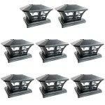 iGlow-8-Pack-Black-White-Outdoor-Garden-6-x-6-Solar-SMD-LED-Post-Deck-Cap-Square-Fence-Light-Landscape-PVC-Vinyl-Wood-0