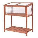 AyaMastro-Portable-Fir-Wood-Garden-Greenhouse-Raised-Flower-Planter-Protection-wBottom-Shelf-0-0