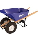 Bon-11-676-Premium-Contractor-Grade-Steel-Double-Wheel-Wheelbarrow-with-Wood-Hande-and-Knobby-Tire-6-Cubic-Feet-0