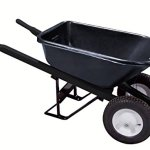 Bon-28-909-Premium-Contractor-Grade-Poly-Tray-Double-Wheel-Wheelbarrow-with-Steel-Handle-and-Ribbed-Tire-5-34-Cubic-Feet-0