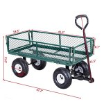 Heavy-Duty-Lawn-Garden-Rolling-Utility-Cart-Wagon-Wheelbarrow-Steel-Trailer-10-Rubber-Air-Tires-Foldable-Frame-Design-Heavy-Duty-Construction-Perfect-For-Gardening-Planting-Use-330-LBS-Load-Capacity-0-0