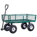 Heavy-Duty-Lawn-Garden-Rolling-Utility-Cart-Wagon-Wheelbarrow-Steel-Trailer-10-Rubber-Air-Tires-Foldable-Frame-Design-Heavy-Duty-Construction-Perfect-For-Gardening-Planting-Use-330-LBS-Load-Capacity-0-2