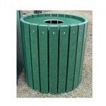 Jayhawk-Plastics-Heavy-Duty-Round-55-Gallon-Trash-Receptacle-Made-With-Twenty-Four-2-X-4-Recycled-Plastic-Slats-Green-0