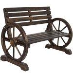NEW-Patio-Garden-Wooden-Wagon-Wheel-Bench-Rustic-Wood-Design-Outdoor-Furniture-0