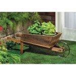 NEW-Wooden-Wheelbarrow-Country-Cart-Plant-Stand-Yard-Garden-Planter-0