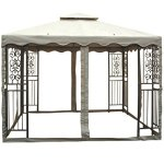 PierSurplus-10-ft-x-10-ft-Outdoor-Double-Roof-Steel-Gazebo-with-Beige-Canopy-and-Mosquito-Netting-Product-SKU-GA01008-0