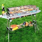 YI-HOME-Floor-Type-Barbecue-Grill-Folding-BBQ-Stainless-Steel-Outdoor-Charcoal-Garden-Home-Travel-Silver-73Cm71Cm-0-2