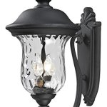 533M-BK-Black-Armstrong-2-Light-Outdoor-Wall-Sconce-with-Clear-Water-Glass-Shade-0