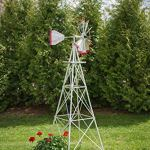 8-Ft-Premium-Aluminum-Decorative-Garden-Windmill-Red-Trim-0