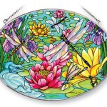 Amia-Suncatcher-Featuring-a-Dragonfly-Design-Hand-Painted-Glass-9-Inch-by-6-12-Inch-Oval-0