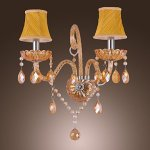 Artisitc-Wall-Light-with-2-Fabric-Shades-2-Lights-Chandelier-Feature-Amber-Glass-Horn-0-0