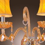 Artisitc-Wall-Light-with-2-Fabric-Shades-2-Lights-Chandelier-Feature-Amber-Glass-Horn-0-1