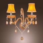 Artisitc-Wall-Light-with-2-Fabric-Shades-2-Lights-Chandelier-Feature-Amber-Glass-Horn-0