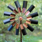 Bits-and-Pieces-Two-Level-Copper-and-Black-Windmill-Decorative-Lawn-Ornament-Wind-Spinner-Kinetic-Garden-Spinner-0