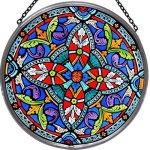 Decorative-Hand-Painted-Stained-Glass-Window-Sun-CatcherRoundel-in-an-Ornate-Quatrefoil-Design-0