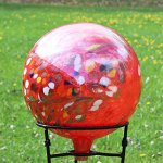Glass-Gazing-Ball-Circus-Red-Iridized-12-Inch-by-Iron-Art-Glass-Designs-0