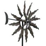 Kinetic-wind-Sculpture-Modern-Art-SUN-Dual-Spinner-Metal-Garden-Outdoor-Pinwheel-0