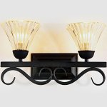 LITFAD-Industrial-Retro-1496-Wall-Sconce-Vintage-Wall-Light-Antique-Wall-Lamp-Wrought-Iron-with-Clear-Ribbed-Glass-Shade-for-Hallway-Lighting-0