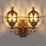 Modeen-Outdoor-2-Lights-Glass-Lantern-Wall-Lamp-Outdoor-Double-Headlight-Tradition-Continental-Victorian-Patio-Garden-Villa-Balcony-E27-Decoration-Wall-Light-0