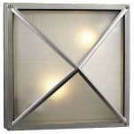 PLC-31700-SL-Danza-Two-Light-Outdoor-WallFlush-Mount-Architectural-Silver-Finish-with-Frost-Glass-0