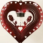 Stainless-Steel-Solar-Light-Heart-and-Rose-12-Inch-Wind-Spinner-Red-0