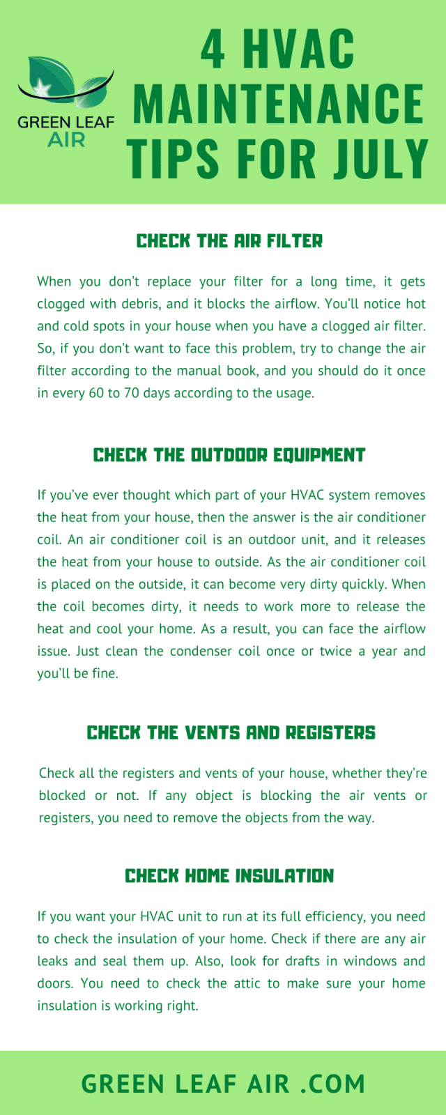 4 HVAC Maintenance Tips for July
