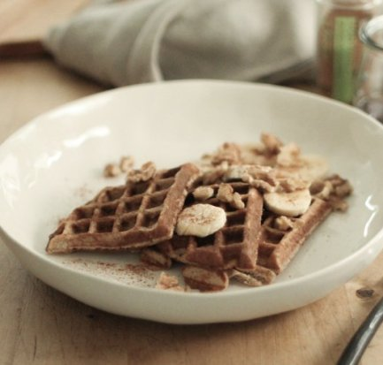 Gluten Free waffles with Banana and walnuts