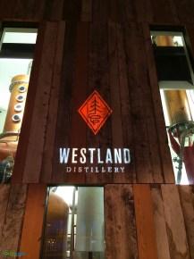 Custom gobo monogram at Westland Distillery by GreenLight Events