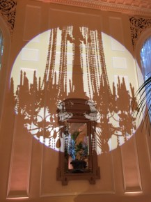 Chandelier silhouettes in the Georgian room at the Fairmont Olympic