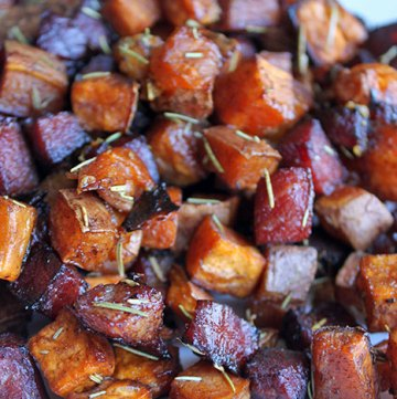 Roasted Sweet Potatoes and Ham