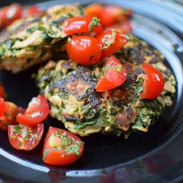 Kale Bacon Tuna Patties with Tomato Garlic Habanero Salsa
