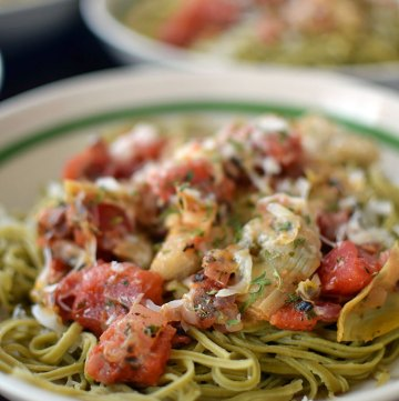 Protein Pasta with Tomatoes and Artichokes