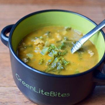 Pumpkin Soup with Turkey and Kale Portrait