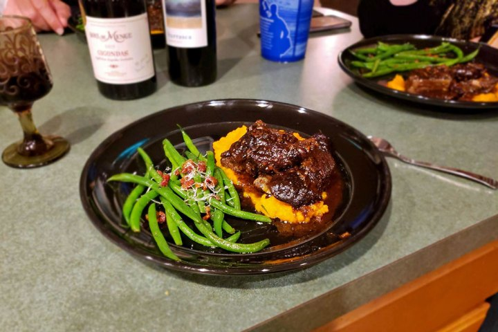 Asian Short Ribs over Butternut Puree with pancetta green beans