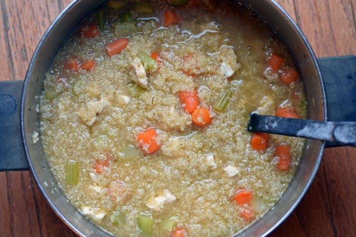 Pot of chicken and quinoa soup
