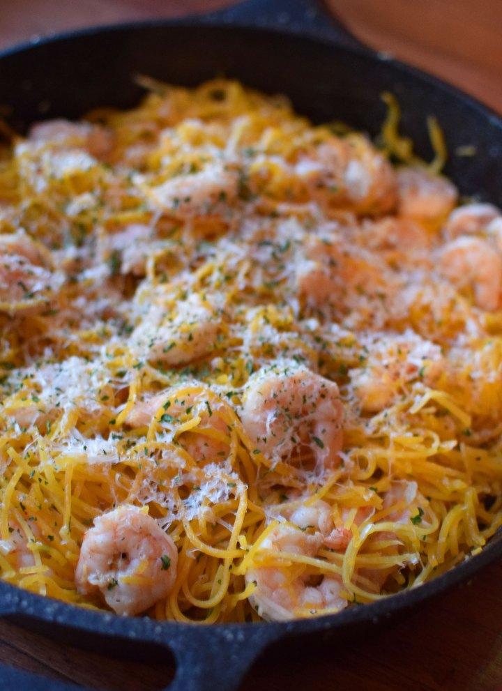 """Garlic Shrimp with Butternut Squash """"Noodles"""" Portrait"""
