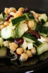Chickpea and Cucumber Salad with Dried Cherries and Cheese Portrait