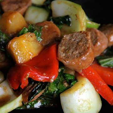 Sweet Sausage Stir Fry with Bok Choy and Pineapple Portrait