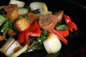 Sweet Sausage Stir Fry with Bok Choy and Pineapple