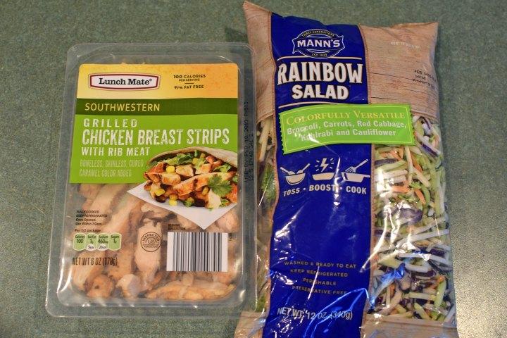 rainbow salad and chicken