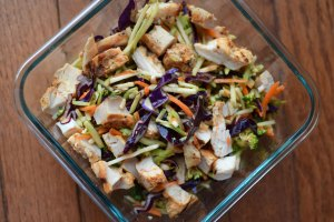 Rainbow Salad with Chicken and Maple Cayenne Vinaigrette Top view