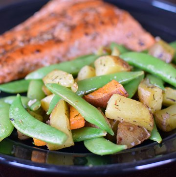 Roasted Potatoes and Snap Peas with Garlic and Lemon Portrait